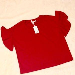 Rose + Olive Red Flutter Sleeve Top